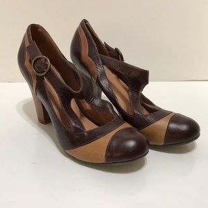 Brown Distressed Chunky Heels Vintage Mary Jane